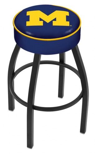 Michigan Wolverines Black Base Swivel Bar Stool
