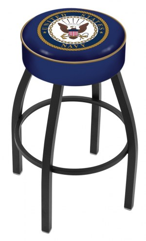 U.S. Navy Midshipmen Black Base Swivel Bar Stool