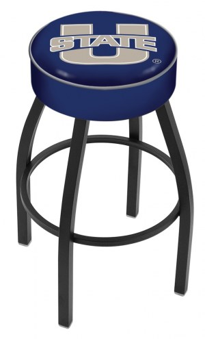 Utah State Aggies Black Base Swivel Bar Stool