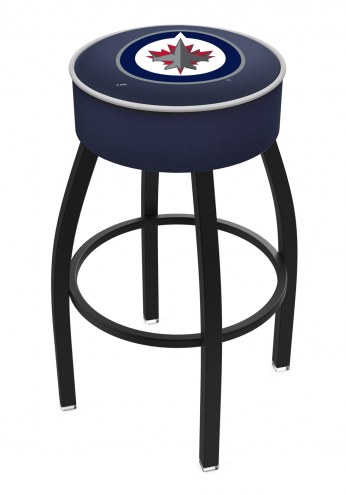 Winnipeg Jets Black Base Swivel Bar Stool