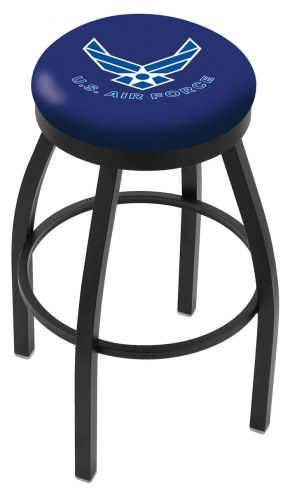 Air Force Falcons Black Swivel Bar Stool with Accent Ring