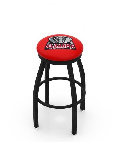Alabama Crimson Tide Black Swivel Bar Stool with Accent Ring