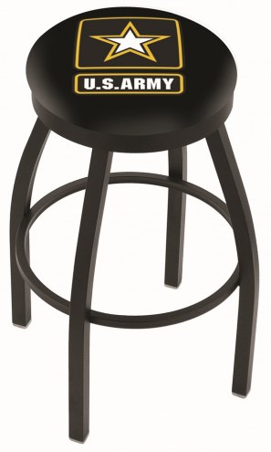 U.S. Army Black Knights Black Swivel Bar Stool with Accent Ring