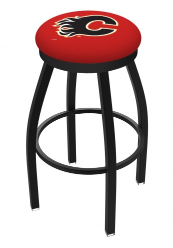 Calgary Flames Black Swivel Bar Stool with Accent Ring