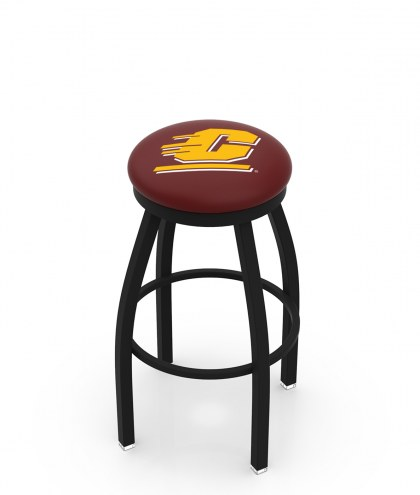 Central Michigan Chippewas Black Swivel Bar Stool with Accent Ring