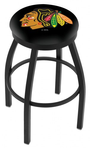 Chicago Blackhawks Black Swivel Bar Stool with Accent Ring