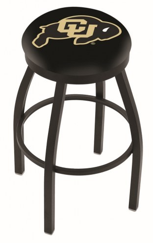 Colorado Buffaloes Black Swivel Bar Stool with Accent Ring