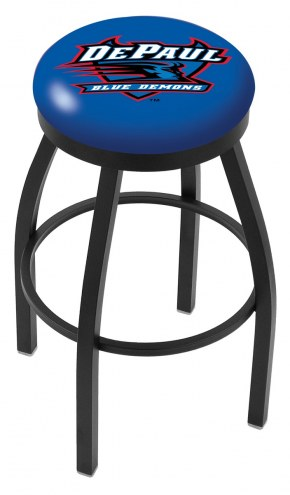 DePaul Blue Demons Black Swivel Bar Stool with Accent Ring