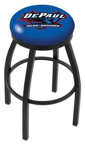 DePaul Blue Demons Black Swivel Bar Stool with Accent Ring