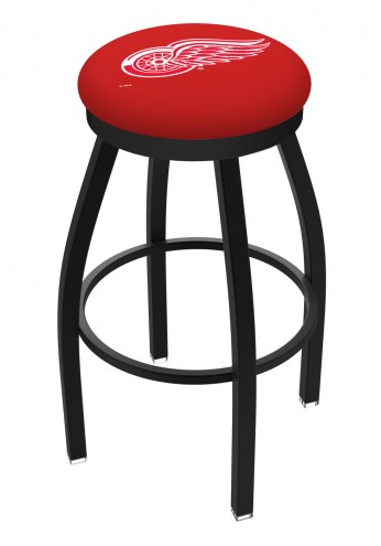 Detroit Red Wings Black Swivel Bar Stool with Accent Ring