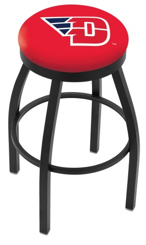 Dayton Flyers Black Swivel Bar Stool with Accent Ring