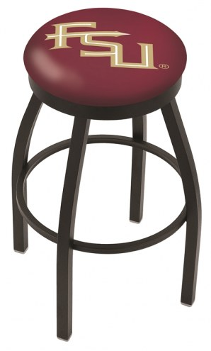 Florida State Seminoles Black Swivel Bar Stool with Accent Ring