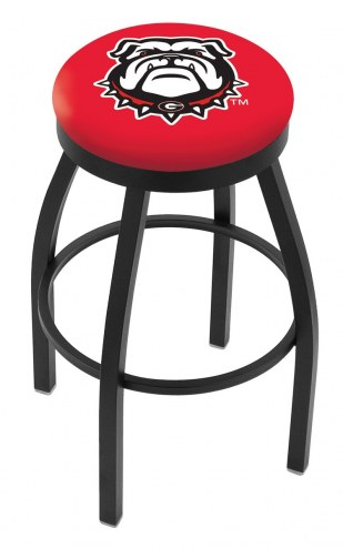 Georgia Bulldogs Black Swivel Bar Stool with Accent Ring