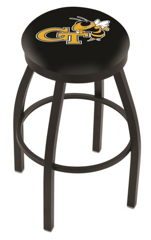 Georgia Tech Yellow Jackets Black Swivel Bar Stool with Accent Ring
