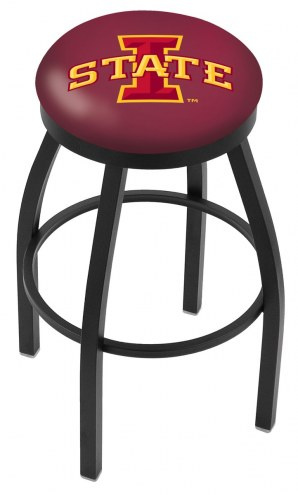 Iowa State Cyclones Black Swivel Bar Stool with Accent Ring