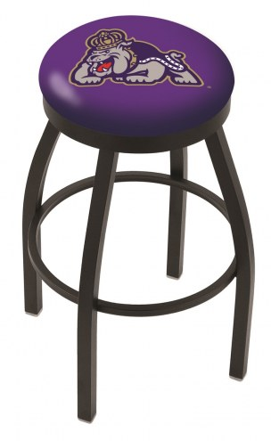 James Madison Dukes Black Swivel Bar Stool with Accent Ring
