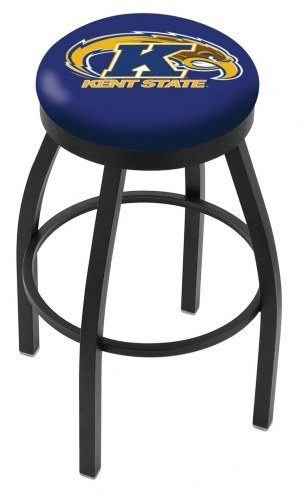 Kent State Golden Flashes Black Swivel Bar Stool with Accent Ring