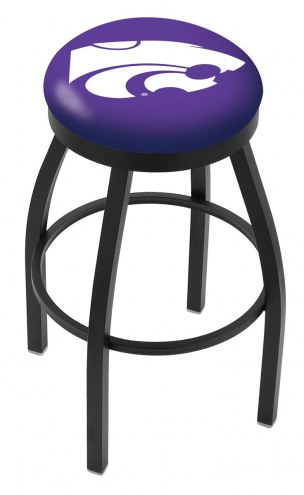 Kansas State Wildcats Black Swivel Bar Stool with Accent Ring