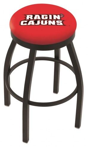 Louisiana Lafayette Ragin' Cajuns Black Swivel Bar Stool with Accent Ring