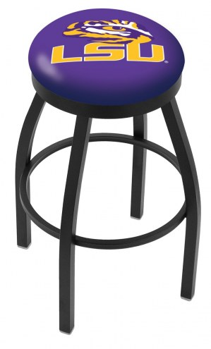 LSU Tigers Black Swivel Bar Stool with Accent Ring