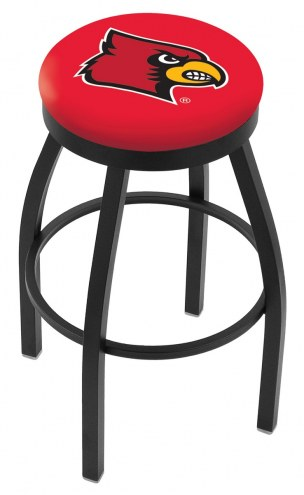 Louisville Cardinals Black Swivel Bar Stool with Accent Ring
