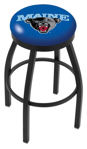 Maine Black Bears Black Swivel Bar Stool with Accent Ring