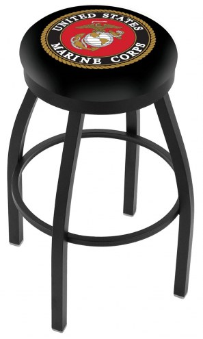 U.S. Marine Corps Black Swivel Bar Stool with Accent Ring