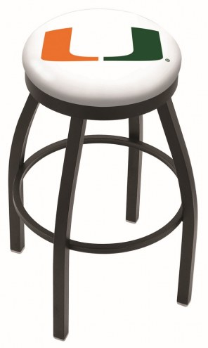 Miami Hurricanes Black Swivel Bar Stool with Accent Ring
