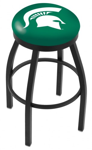 Michigan State Spartans Black Swivel Bar Stool with Accent Ring