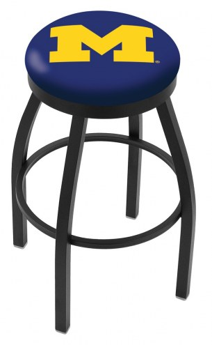 Michigan Wolverines Black Swivel Bar Stool with Accent Ring