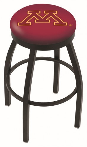 Minnesota Golden Gophers Black Swivel Bar Stool with Accent Ring