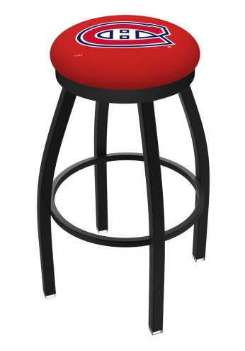 Montreal Canadiens Black Swivel Bar Stool with Accent Ring