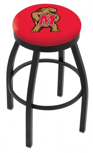 Maryland Terrapins Black Swivel Bar Stool with Accent Ring
