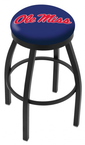 Mississippi Rebels Black Swivel Bar Stool with Accent Ring