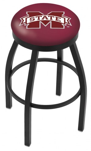 Mississippi State Bulldogs Black Swivel Bar Stool with Accent Ring