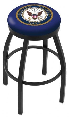 U.S. Navy Midshipmen Black Swivel Bar Stool with Accent Ring