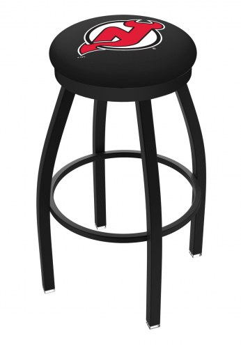 New Jersey Devils Black Swivel Bar Stool with Accent Ring