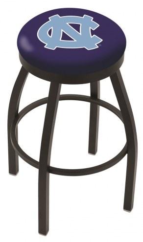 North Carolina Tar Heels Black Swivel Bar Stool with Accent Ring