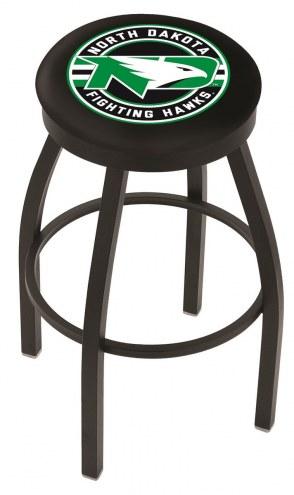 University of North Dakota Black Swivel Bar Stool with Accent Ring