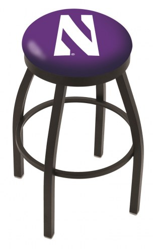 Northwestern Wildcats Black Swivel Bar Stool with Accent Ring