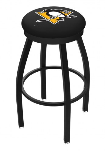 Pittsburgh Penguins Black Swivel Bar Stool with Accent Ring