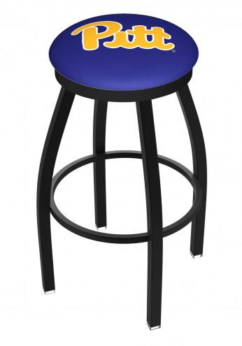 Pittsburgh Panthers Black Swivel Bar Stool with Accent Ring