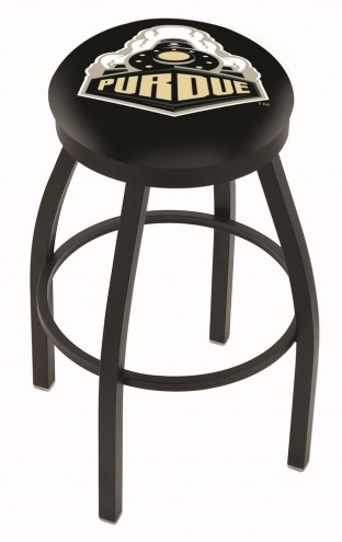 Purdue Boilermakers Black Swivel Bar Stool with Accent Ring