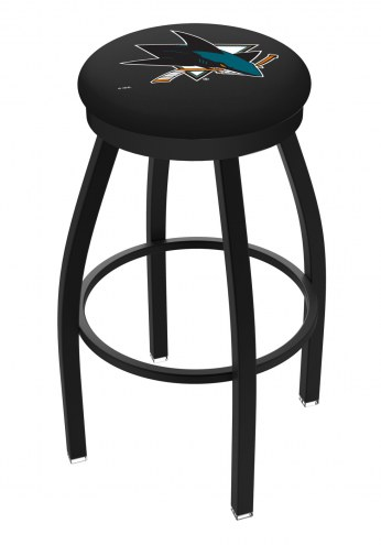 San Jose Sharks Black Swivel Bar Stool with Accent Ring