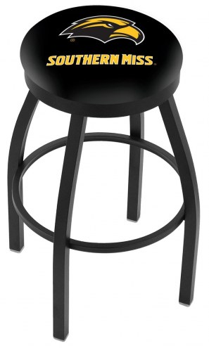 Southern Mississippi Golden Eagles Black Swivel Bar Stool with Accent Ring