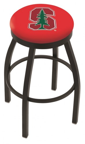 Stanford Cardinal Black Swivel Bar Stool with Accent Ring