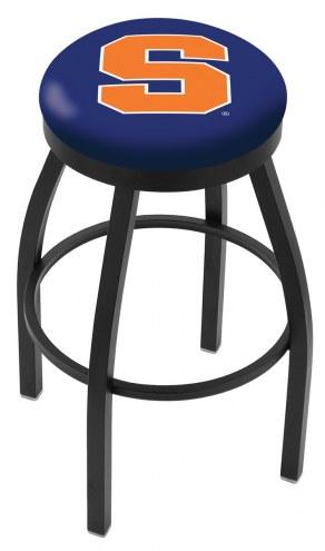 Syracuse Orange Black Swivel Bar Stool with Accent Ring