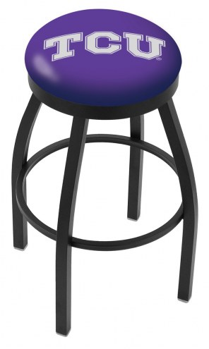 Texas Christian Horned Frogs Black Swivel Bar Stool with Accent Ring