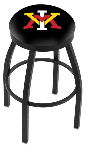 Virginia Military Institute Keydets Black Swivel Bar Stool with Accent Ring