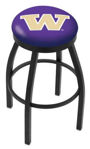 Washington Huskies Black Swivel Bar Stool with Accent Ring